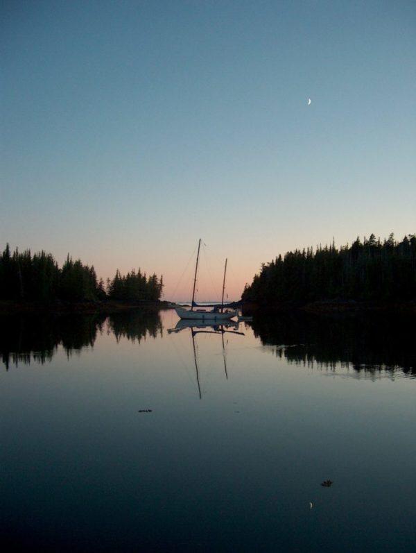 Here's a beautiful sunset shot Rick snapped while anchored at Foggy Bay, Alaska.